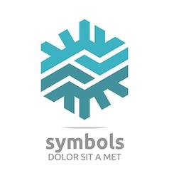 Design letter hexagon zigzag blue symbol vector