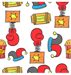 Doodle cute circus theme collection vector