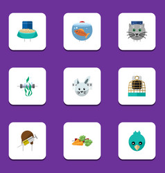Flat icon pets set of fishbowl root vegetable vector