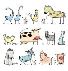 Funny cartoon farm domestic animals collection for vector