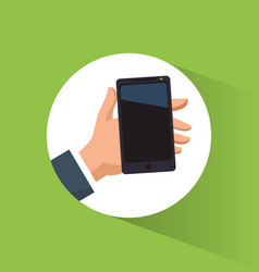 Hand holding smartphone mobile advertising vector