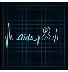 Heartbeat make aids word and symbol vector