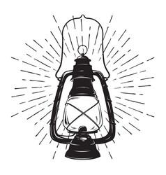 oil lantern or kerosene lamp with rays of light vector image