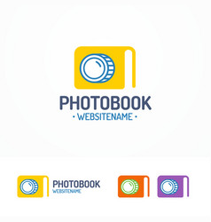 photobook logo set with book and lens vector image vector image