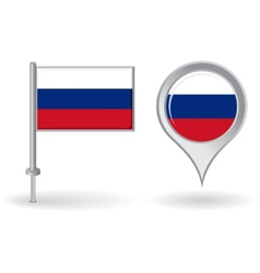 Russian pin icon and map pointer flag vector image