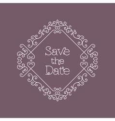 Save the date card line art wedding design vector