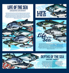 Sea life banner with fish and ocean animal sketch vector