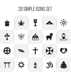 Set of 20 editable faith icons includes symbols vector
