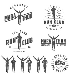 Set of run club labels emblems and design element vector image vector image