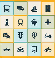 Shipment icons set collection of bicycle van vector