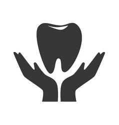 silhouette hand holding a tooth vector image