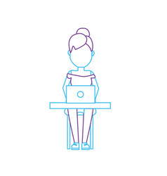 Silhouette profesional businesswoman with laptop vector