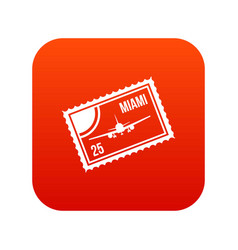 stamp with plane and text miami inside icon vector image