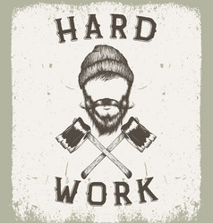 vintage prints label for lumberjack style vector image vector image