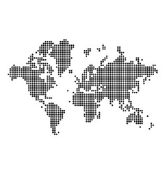 World map silhouette world map in dots vector