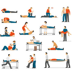 First Aid Emergency Flat Icons Set vector image