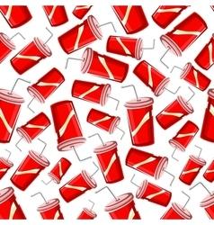 Fast food takeaway soda drinks seamless pattern vector image