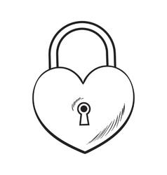 Traditional heart shaped padlock for love lock vector