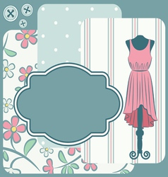 Fashionable dress with flowers vector