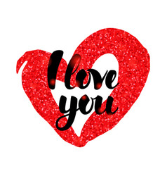 I love you red handwritten inscription vector
