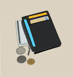 Wallet with money and credit cards vector
