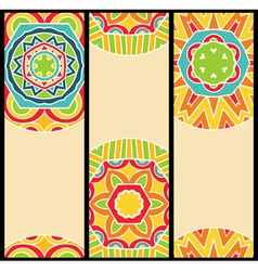 Bright ethnic patterns at set of cards vector