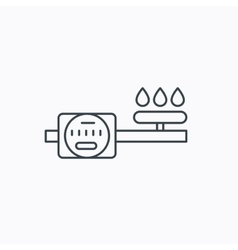 Gas counter icon pipe with fire sign vector
