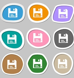 floppy icon symbols Multicolored paper stickers vector image