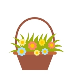 Basket with flowers flat icon vector