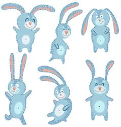 Happy cute cheerful rabbits set vector