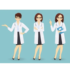 Set of three female doctors in different poses vector