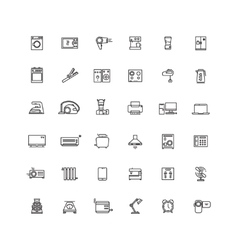 Household appliances line icons vector