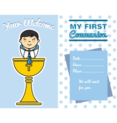 Boy first communion card vector