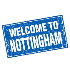 Nottingham blue square grunge welcome to stamp vector