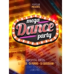 Mega party dance poster background template with vector
