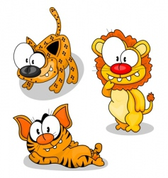 Cartoon big cats vector