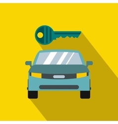 Blue car and key icon in flat style vector