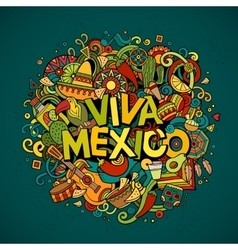 Viva mexico sketchy outline festive background vector