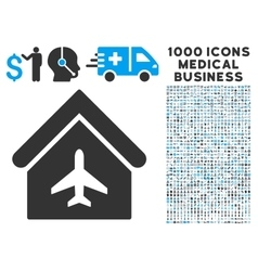 Aircraft Hangar Icon with 1000 Medical Business vector image vector image