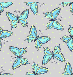 Blue butterflies seamless pattern on fashion grey vector
