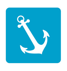 blue square frame with anchor icon vector image vector image