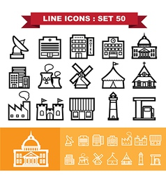 Building and Landmark Line icons set 48 vector image