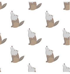 cartoon wolf seamless pattern on white vector image
