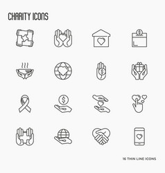 Charity and donation thin line icons set vector