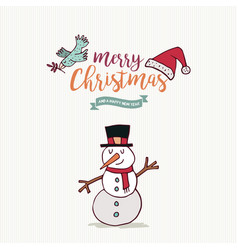 christmas and new year cute snowman cartoon card vector image