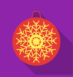 Christmas bauble with snowflake icon in flat style vector