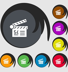 Cinema movie icon sign Symbols on eight colored vector image