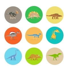 Dinosaurs flat icons vector