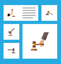 Flat icon lawyer set of court tribunal crime and vector