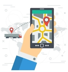 Freight monitoring on phone screen vector